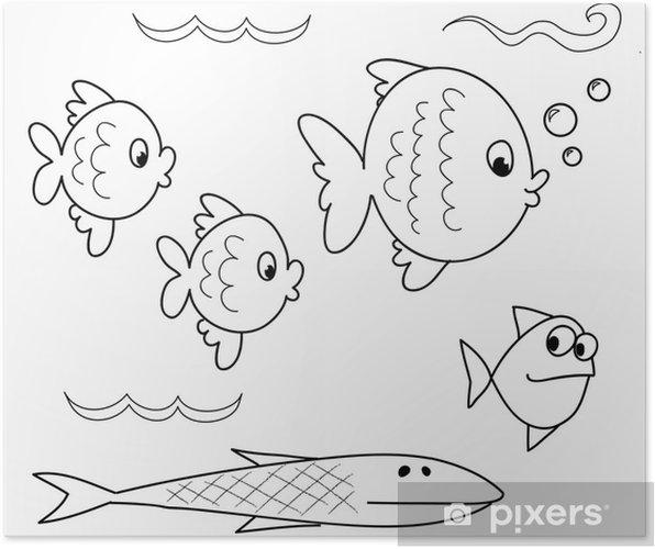 Poster Simpatici Pesci Da Colorare