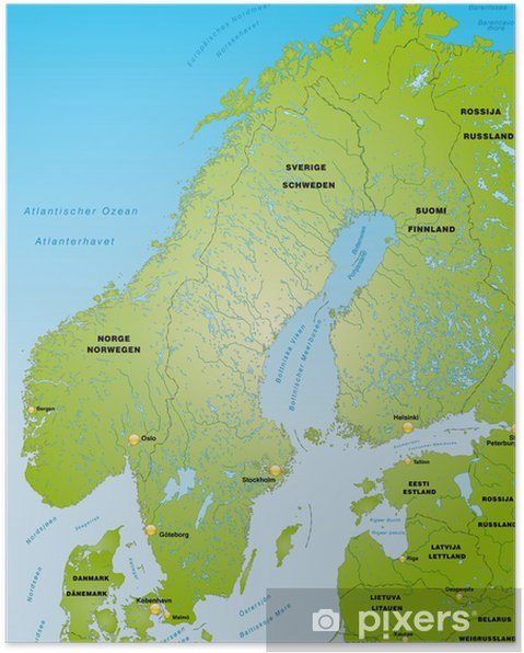 Poster Skandinavien Als übersichtskarte Pixers Wir Leben Um Zu