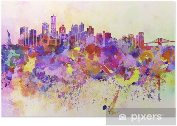 Poster Skyline di New York in acquerello sfondo - Stili