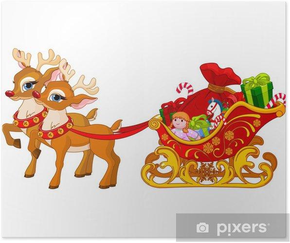 Foto Slitta Di Babbo Natale.Poster Slitta Di Babbo Natale