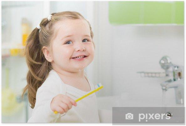 Poster Smiling Kind Mädchen Zähneputzen im Badezimmer