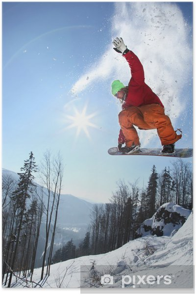 Poster Snowboarder jumping gegen blauen Himmel - Wintersport