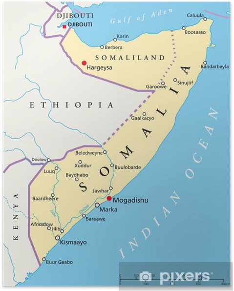 Poster Somalia map (Somalia Landkarte)