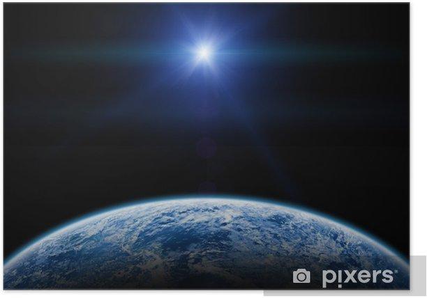 Poster Sonnenuntergang / Sonnenaufgang über der Erde auf einer sternenlosen Himmel. - Erde
