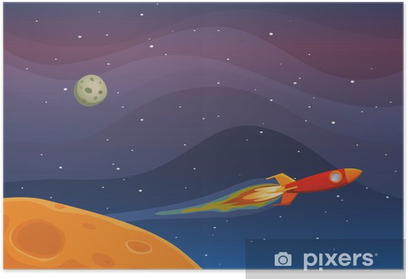 Poster Spaceship Travel In Space -