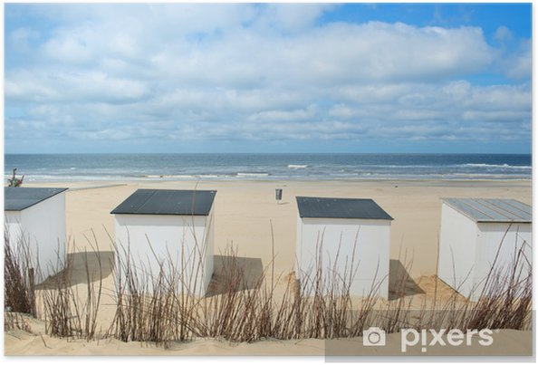 Poster Spiaggia capanne blu a Texel - iStaging