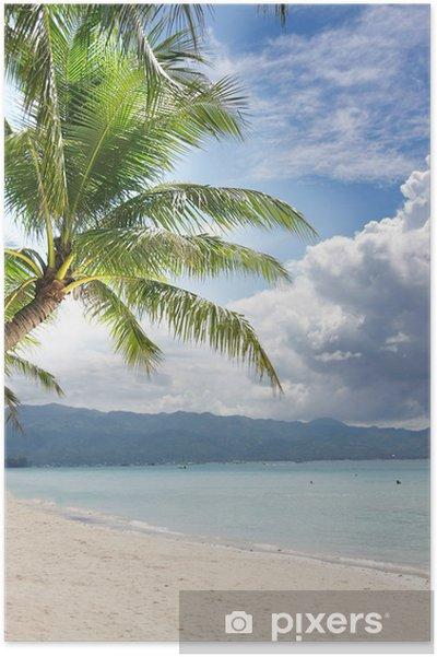Poster Spiaggia Di Sabbia E Palme Sul Mare E Del Cielo Di Sfondo