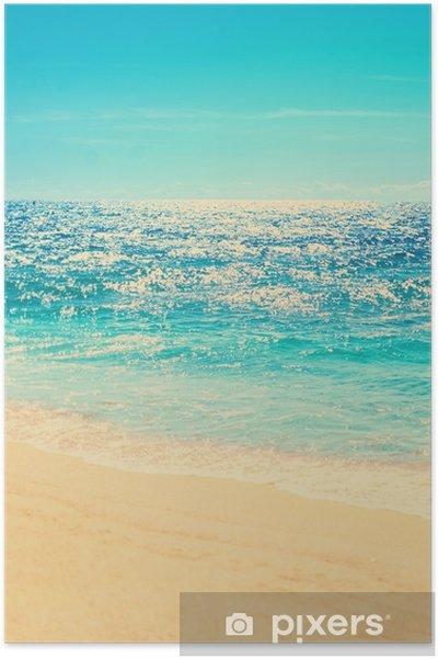 Poster Spiaggia Estiva E Sfondo Onda Morbida Sabbia E Mare Immagine