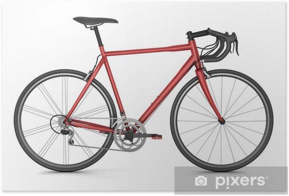 Poster Sport Della Bicicletta Rossa Isolato Su Sfondo Bianco
