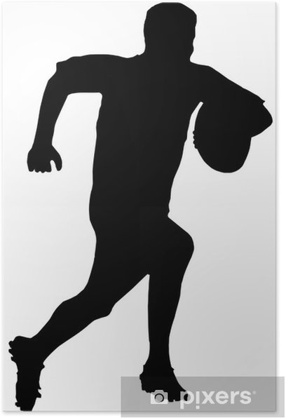 Poster Sport Silhouette - Rugby-Fußball-Läufer - Rugby