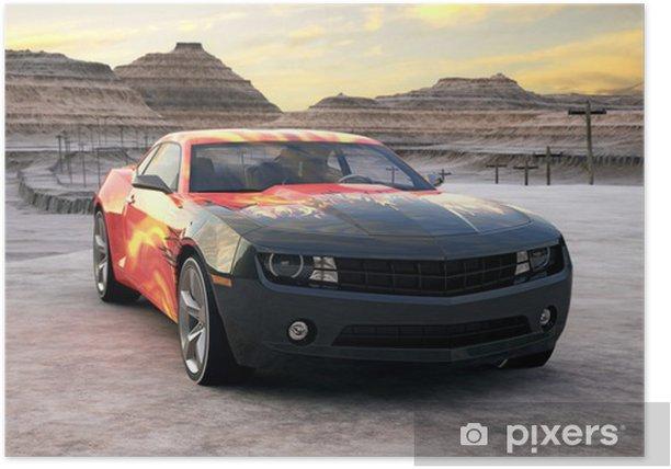Poster Sportwagen in der Wüste Sonnenaufgang 3D-Szene - Bereich