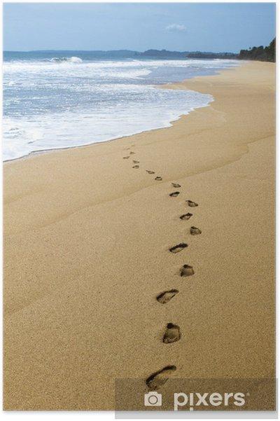 Poster Spuren im Sand mit Wasser • Pixers® - Wir leben, um