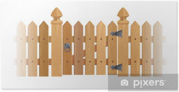 Poster Staccionata di legno strutturato e cancello con colonne ...