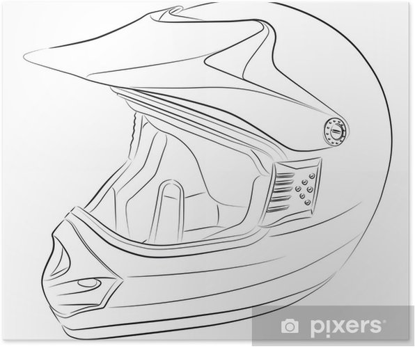 Poster Standart Motocross Casco Di Disegno Vettoriale