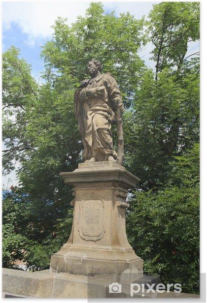 Poster Statua di San Giuda Taddeo. Ponte Carlo a Praga. - Europa