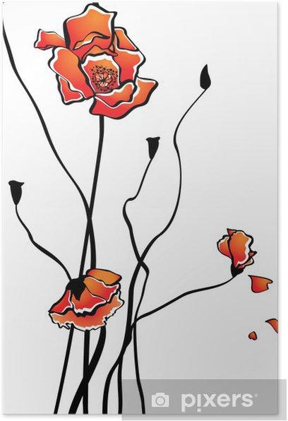 Poster Stilisierte Mohn - Blumen