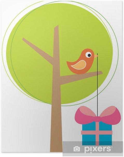 Poster Stilisierter Baum mit einem Vogel - Internationale Feste