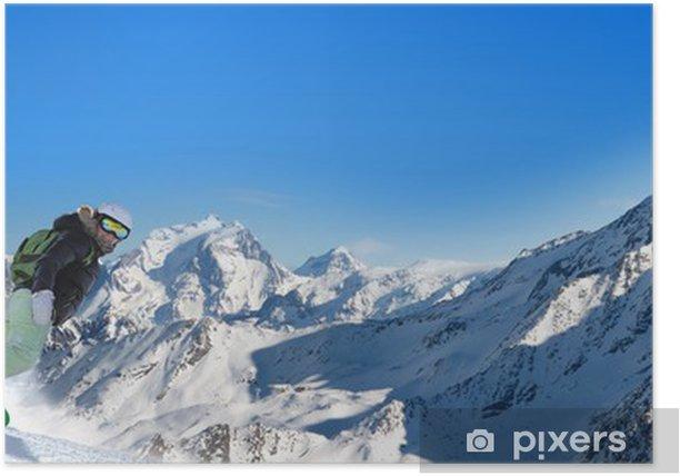 Poster Stitched Panorama ski - Urlaub