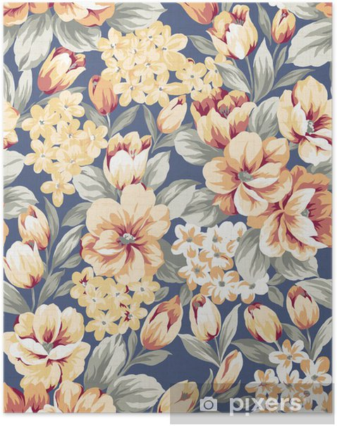 Poster Stockfoto: Blumenhintergrund, Element für Design-Muster - Kunst und Gestaltung