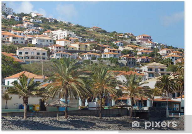 poster strand in santa cruz madeira island portugal
