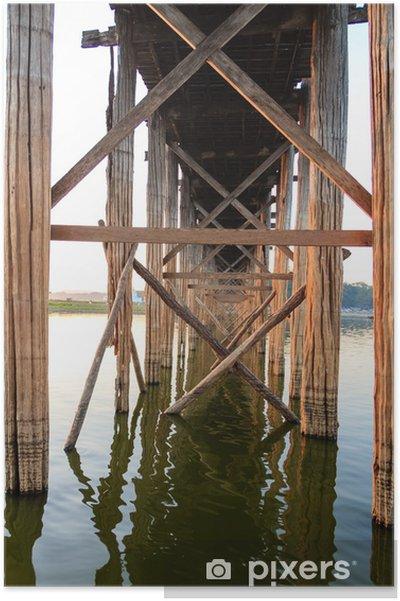 Poster Struttura sotto il ponte U Bein legno di teak, Amarapura in Myanm - Asia