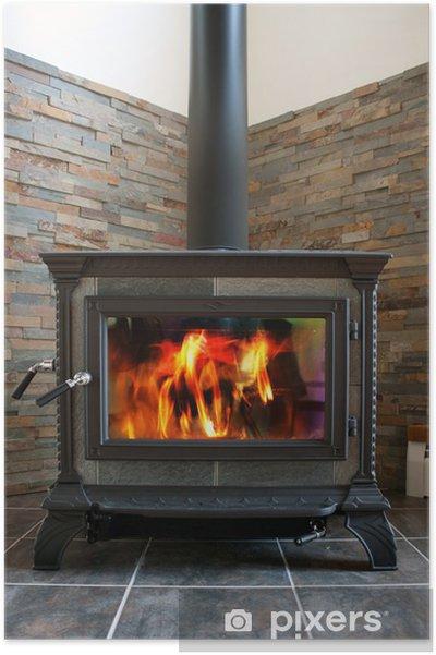 Poster Stufa a legna caldo ardente per il riscaldamento domestico a prezzi  accessibili