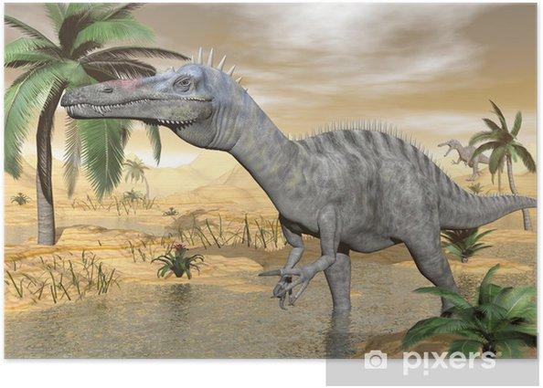 Poster Suchomimus dinosaurs in desert - 3D render - Themen