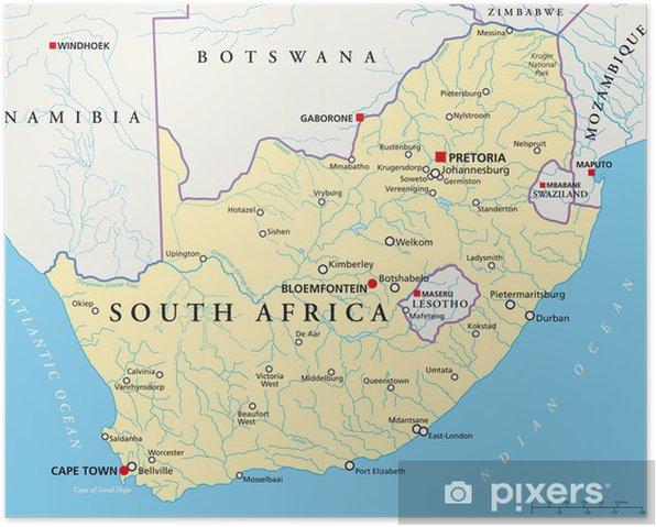 Cartina Sud Africa Da Stampare.Poster Sud Africa Mappa Sudafrika Cronaca Pixers Viviamo Per Il Cambiamento