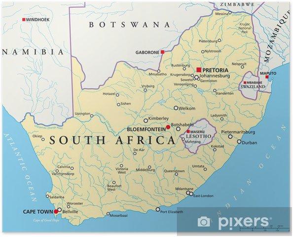 Sud Africa Cartina Politica.Poster Sud Africa Mappa Sudafrika Cronaca