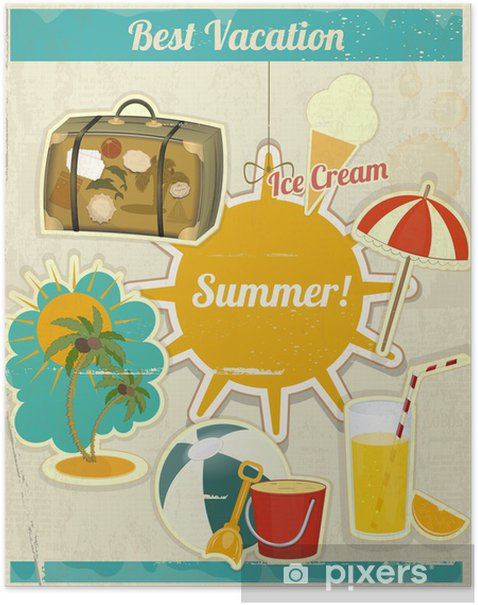 Poster Summer Card Vacanza in Vintage Retro Style - Vacanze