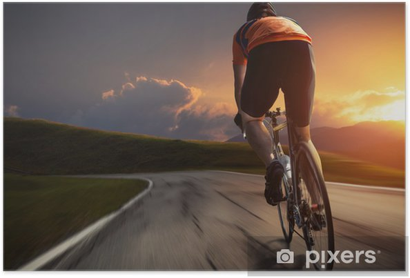 Poster Sunset bike - Ciclismo