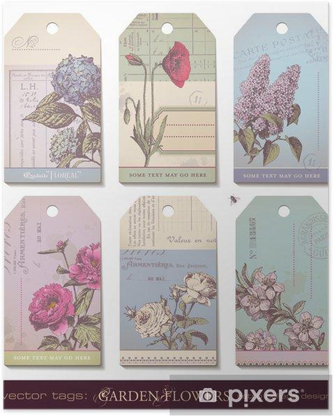 Poster Tag Floreali Set Di 6 Disegni Collage Colorati Pixers