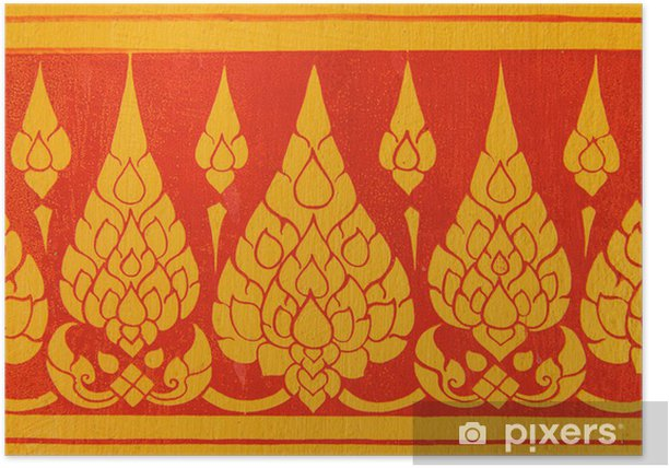 Poster Thai-Kunst-Mauer-Muster - Asien