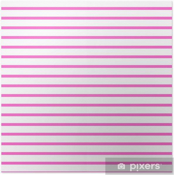 Poster Thin Rosa Luminoso E Bianco A Righe Orizzontale Strutturato