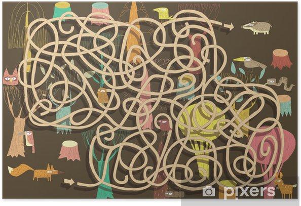 Poster Tiere Labyrinth-Spiel. Lösung in versteckten Schicht! - Sonstige Gefühle