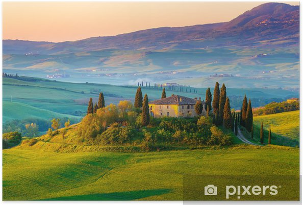 Poster Toskana-Landschaft bei Sonnenaufgang • Pixers
