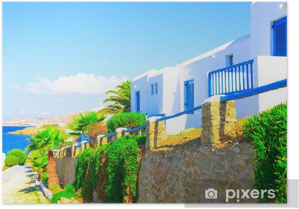 Poster Traditionelle Straßenansicht in Mykonos Griechenland Kykladen - Europäische Städte