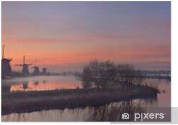 Poster Traditionelle Windmühlen bei Sonnenaufgang, Kinderdijk, Niederlande - Gebäude und Architektur