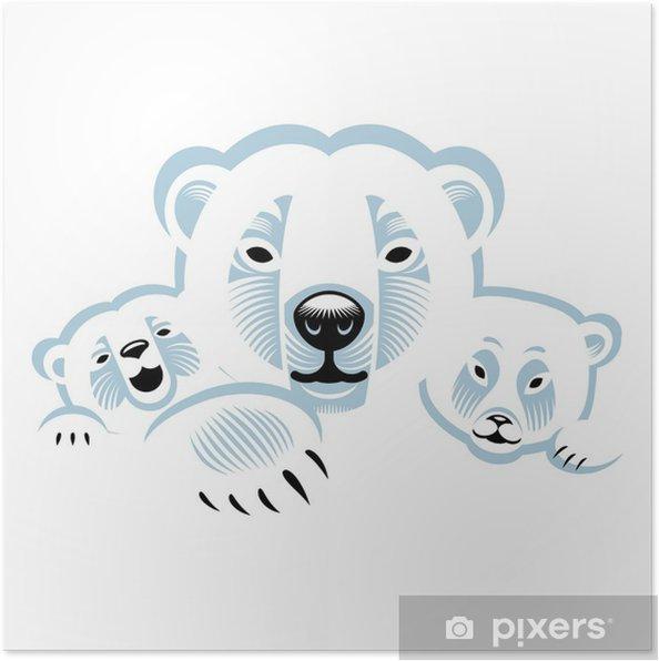 Poster tre orsi polari bianchi animali di famiglia u2022 pixers
