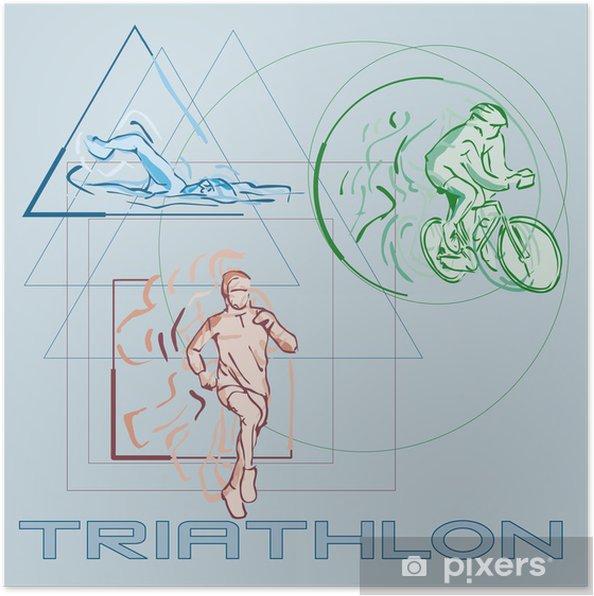 Poster Triathlon - Wassersport