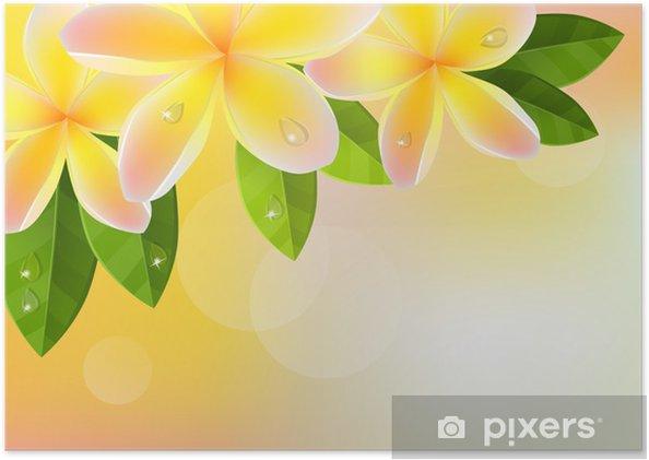 Poster Tropic Sfondo Arancione Con Foglie Frangipani E Verde