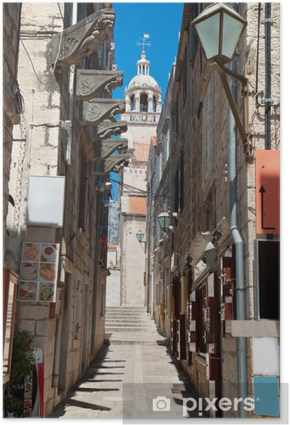 Poster Typische engen Straße im alten mittelalterlichen Stadt Korcula durch SUNY Tag - Europa