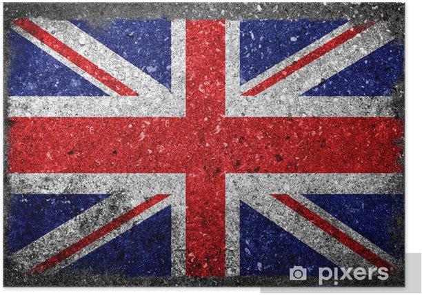 Poster UK Flagge auf Beton gemalt - Europa