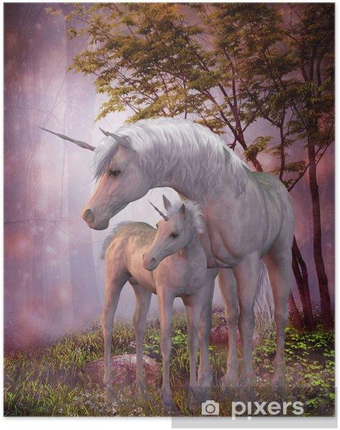 Poster Unicorn Mare e Foal - Temi