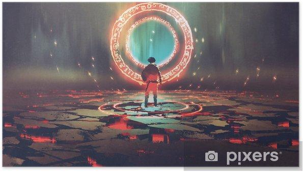 Poster Uomo che sta davanti al cerchio magico con luce rossa, stile di arte digitale, pittura dell'illustrazione - Scienze