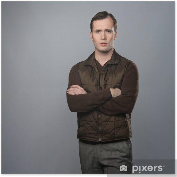 1c849da54271 Poster Uomo in maglia isolato su sfondo grigio • Pixers® - Viviamo ...