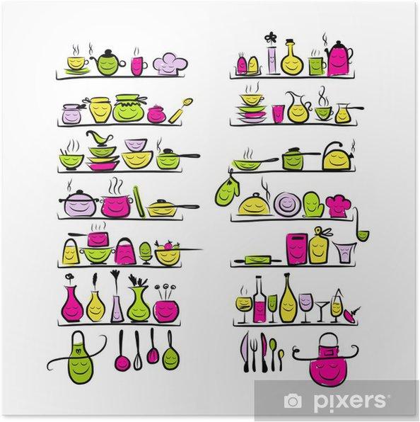 Poster Utensili da cucina caratteri sugli scaffali, disegno schizzo ...