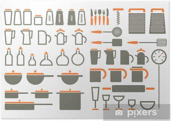 Poster Utensili da cucina icone • Pixers® - Viviamo per il cambiamento