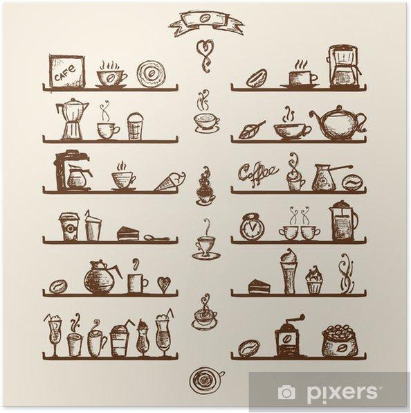 Poster Utensili da cucina sugli scaffali per il disegno di casa ...