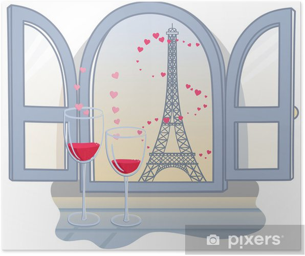 Poster Valentinstag Effel Turm und zwei Gläser mit Wein. Vector illust - Denkmäler